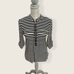 Calvin Klein Zip Front Striped Long Sleeve Small
